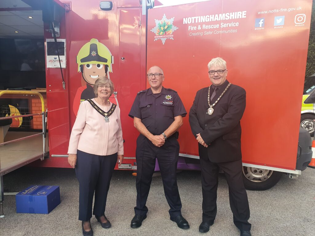 Mayor of Broxtowe, Councillor Janet Patrick, Stapleford Firefighter Ray Burton and Mayor of Stapleford, Councillor Richard MacRae