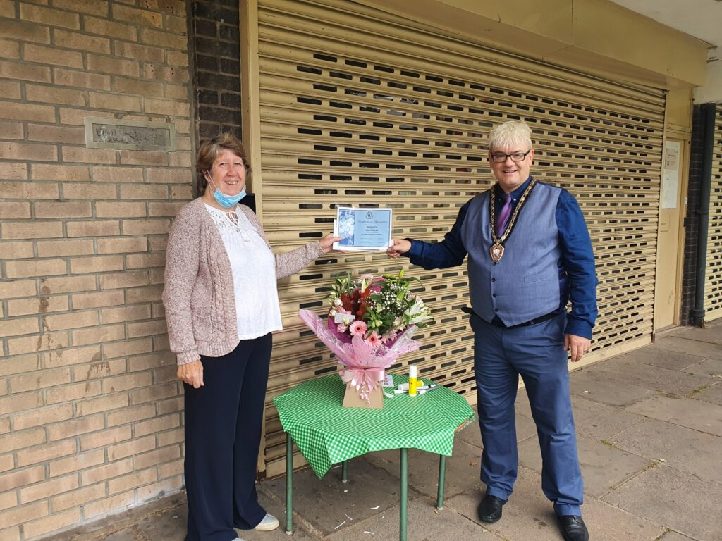 Stapleford Childminder, Sharon Goffin with the Mayor of Stapleford, Councillor Richard MacRae