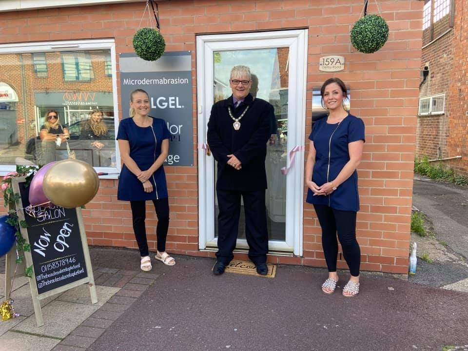The Mayor of Stapleford with staff from The Beautè Salon