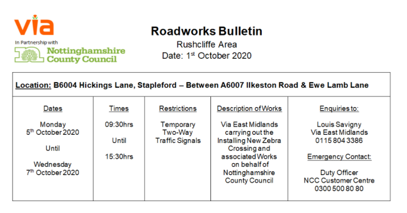 Roadworks Bulletin - Temporary Traffic Signals - B6004 Hickings Lane, Stapleford