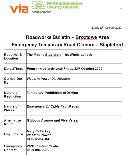 Emergency Roadworks Bulletin (BR20-123) - Temporary Road Closure - The Mount, Stapleford