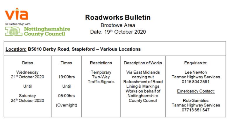 Roadworks Bulletin - Temporary Traffic Signals - B5010 Derby Road, Stapleford