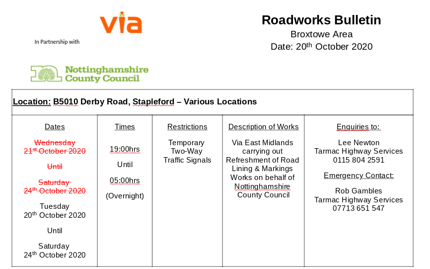 Revised Roadworks Bulletin - Temporary Traffic Signals - B5010 Derby Road, Stapleford.