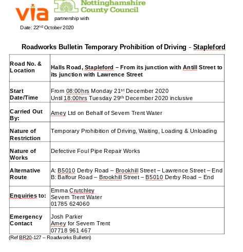 Roadworks Bulletin (BR20-127) - Temporary Prohibitions - Halls Road, Stapleford