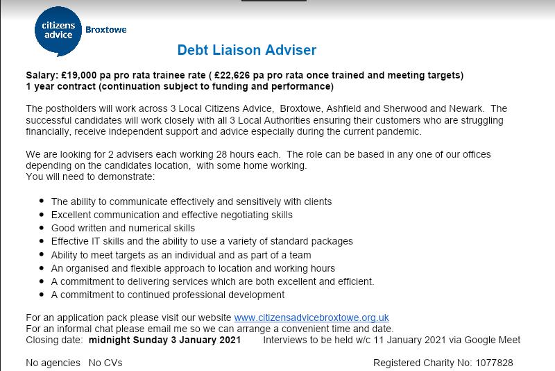 Job Vacancy - Debt Liaison Adviser - Citizens Advice Broxtowe