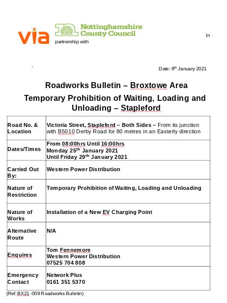 BR21-009 Roadworks Bulletin - Temporary Parking Restriction - Victoria Street, Stapleford