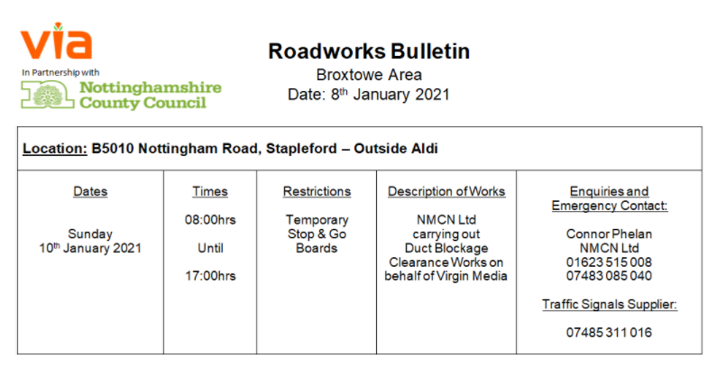 Roadworks Bulletin - Temporary Traffic Signals - B5010 Nottingham Road, Stapleford