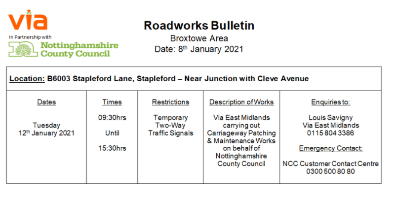 Roadworks Bulletin - Temporary Traffic Signals - B6003 Stapleford Lane, Stapleford