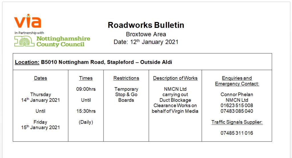 Roadworks Bulletin - Temporary Traffic Signals - B5010, Nottingham Road, Stapleford