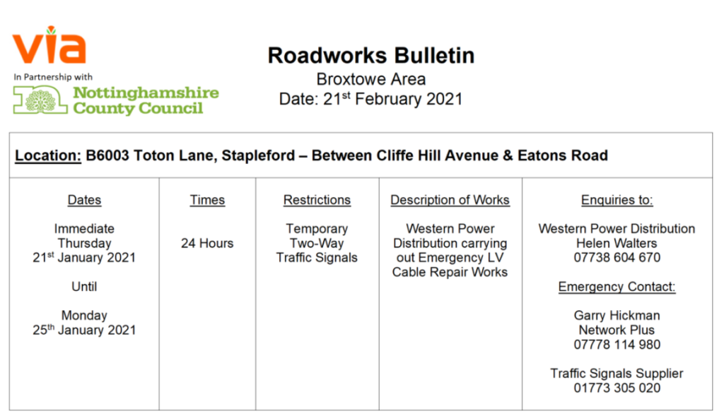 Roadworks Bulletin - Temporary Traffic Signals - B6003 Toton Lane, Stapleford Temporary Two-Way-Traffic Signals